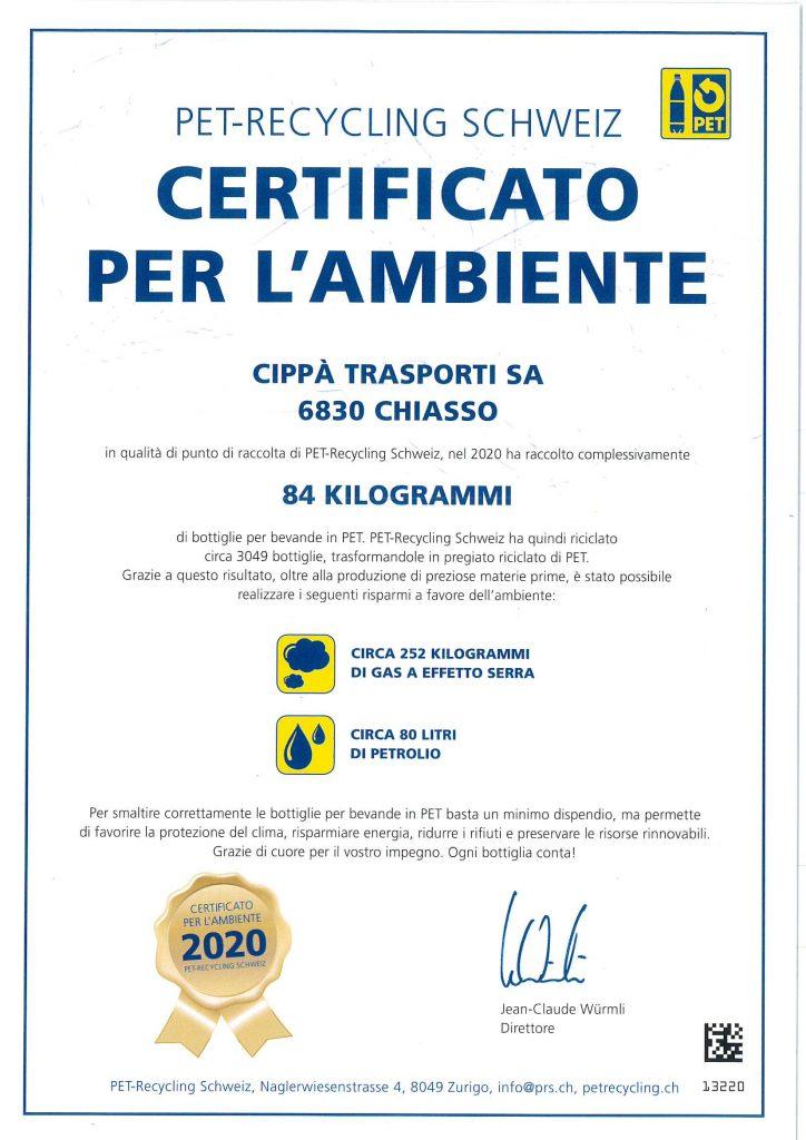 Certificato per l'ambiente 2020